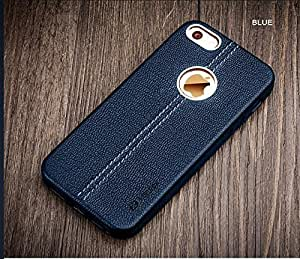 Vorson Apple iPhone 5 / 5s Lexza Series Double Stitch Leather Shell with Metallic Logo Display Back CoverCase-Blue