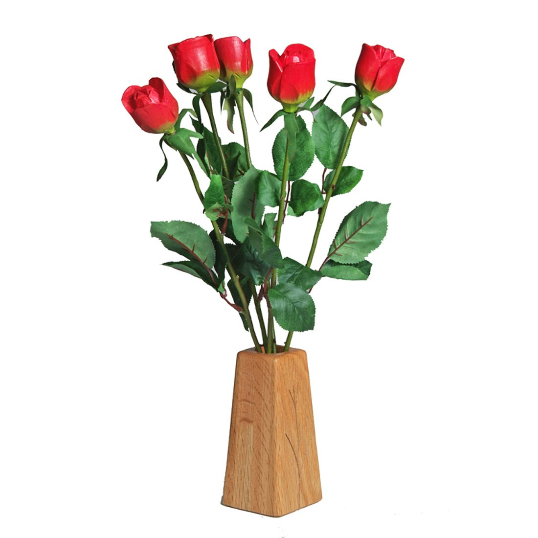 JustPaperRoses ® Wood Roses 5th Wedding Anniversary Gift, 5-Stem Bouquet and Wood Vase, Just Paper Roses –