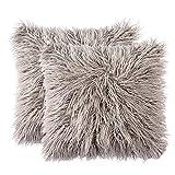 FURTALK 18-Inch Mongolian Faux Fur Pillow, Natural (two grey pillowcase)