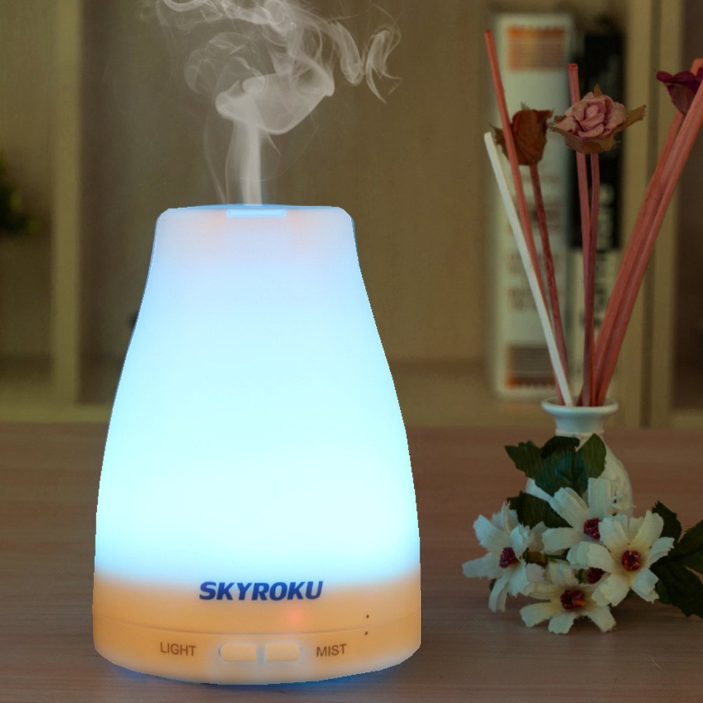 Essential Oil Diffuser Skyroku Aroma Diffuser Oil Cool Mist Humidifier with 7 Colors Changing Different LED Light, Mist Mode Adjustment and Waterless Auto Shut-off Function