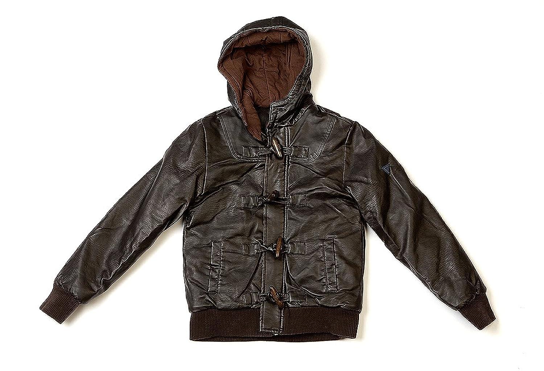 Best Band Jacke in Lederoptik mit Kapuze, verschließbar durch Reißverschluss und große Knöpfe kaufen