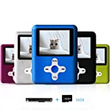 Lecmal Portable MP3/MP4 Player with 16GB Micro SD Card, Economic Multifunctional Music Player with Mini USB Port, MP3 Voice Recorder, Media Player for Kids-16GB-Blue (Color: 16GB-Blue1)