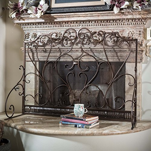 Purchase the incredible Adalia Black Brushed Gold Finish Wrought Iron Fireplace Screen by Great Deal Furniture online today. This highly desirable product is currently available - get securely at Century Fireplace today.