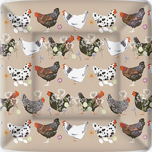 Boston International 8 Count Square Paper Dinner Plates, Spatter Hens Linen (Chicken Paper compare prices)