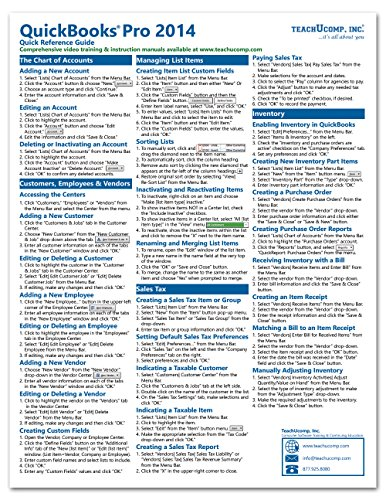 quickbooks-pro-2014-quick-reference-training-card-laminated-guide-cheat-sheet-instructions-and-tips