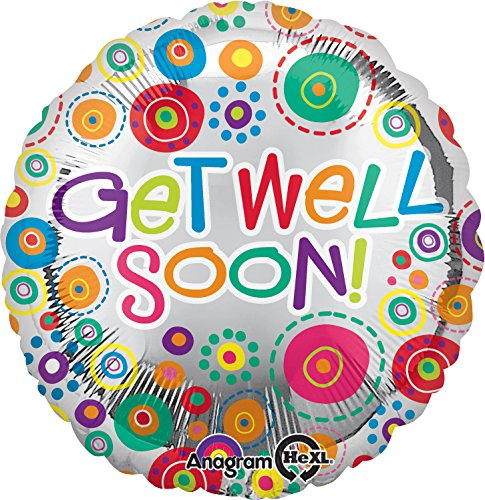 "Anagram International Get Well Soon Happy Dots Balloon, 18"", Multicolor"