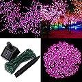 1 Pcs Eloquent Modern 200x LED Solar Power Nightlight String Fairy Waterproof Strip Gift Colors Pink