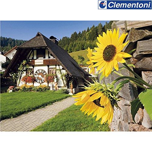 Clementoni Puzzle Die Kuckucksuhr, 1000 Teile, 69 x 50 cm, ab 9 Jahren || Sonnenblume Schwarzwald Landschaft Puzzel