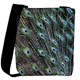 Snoogg peacock feathers picture Womens Carry Around Cross Body Tote Handbag Sling Bags
