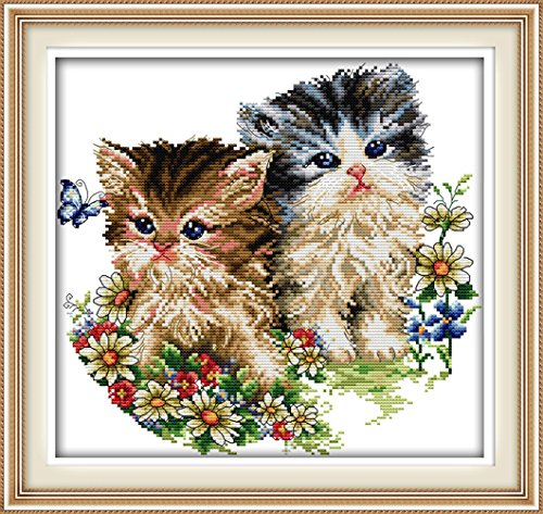 YEESAM ART® New Cross Stitch Kits Advanced Patterns for Beginners Kids Adults - Cat Lovers 11 CT Stamped 42x40 cm - DIY Needlework Wedding Christmas Gifts (Counted Cross Stitch Software compare prices)