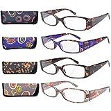 Eyekepper 4-Pack Beautiful Colors Spring Hinge Rectangular Reading Glasses +4.00 (Color: Geometric Mix, Tamaño: +4.00)