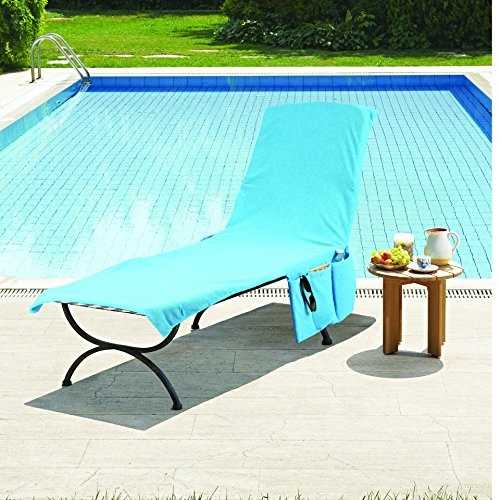 2 in 1 Terry Cloth Lounge Chair Cover & Tote Blue Home Garden Pool Spa