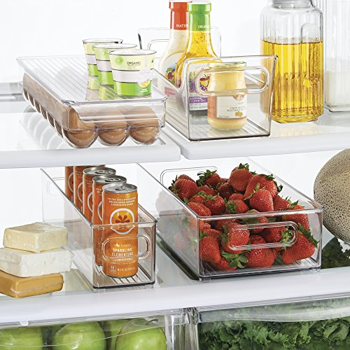 mDesign Refrigerator and Freezer Storage Organizer Bins for Kitchen, 4 pc Set - Clear (Refrigerator Shelf Protector compare prices)