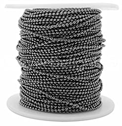 CleverDelights Ball Chain Spool - 30 Feet - 1.5mm Ball (Small) - Gunmetal (Dark Silver) Color - 10 Meters