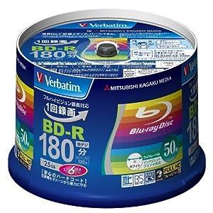 三菱化学メディア Verbatim BD-R 1回録画用 130分 1-6倍速 50枚スピンドルケース50P VBR130RP50V4