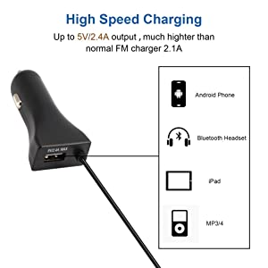 Mazur CATUO FM Transmitter Car Kit Radio Modulator fit Car with 3.5mm Aux Plug and 5V/2.4A USB Car Charger Easy to Use Black(Black FM Transmitter) (Color: Black FM Transmitter)