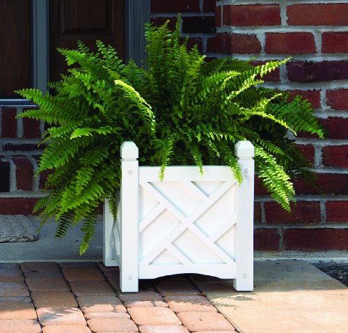 DMC Products Chippendale 18-Inch Square Solid Wood Planter, White