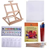 Vencer 33 Piece Custom Artist Acrylic Painting Set with Table Easel, Paint, Canvas and Accessories