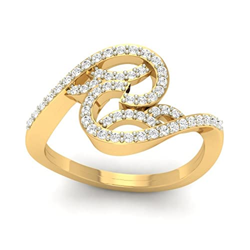18K Yellow Gold 0.31cttw Round-Cut-Diamond (F-G Color, VS Clarity) Diamond Ring