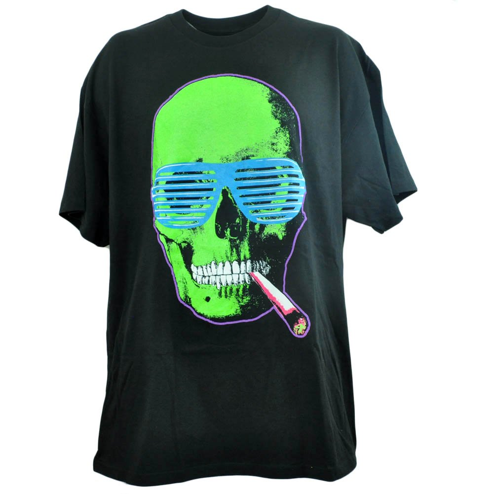 Spencers Men's Graphic Skull Smoking Glasses Joint Neon T-Shirt