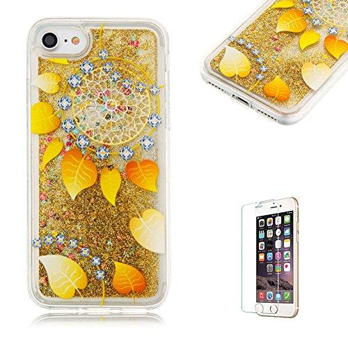 custodia-per-iphone-7-cover-in-silicone-morbidafunyye-brillantini-muovono-liquida-sequin-giallo-glit