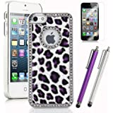 Pandamimi Deluxe Purple Fashion Sweety Girls Leopard Bling Diamond Rhinestone Hard Case Cover for iPhone 5 5G with Screen Protector and Stylus