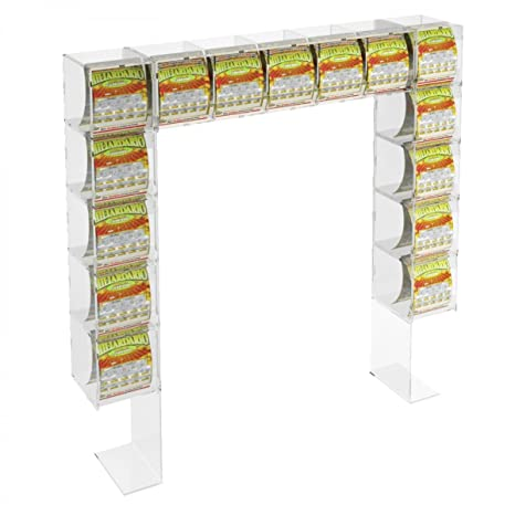 Acrylic countertop scratch and win card holder display – 5 horizontal containers and 5 lateral containers without locking door Dimensions: 34.65''W x 5.51'' D x 33.46'' T