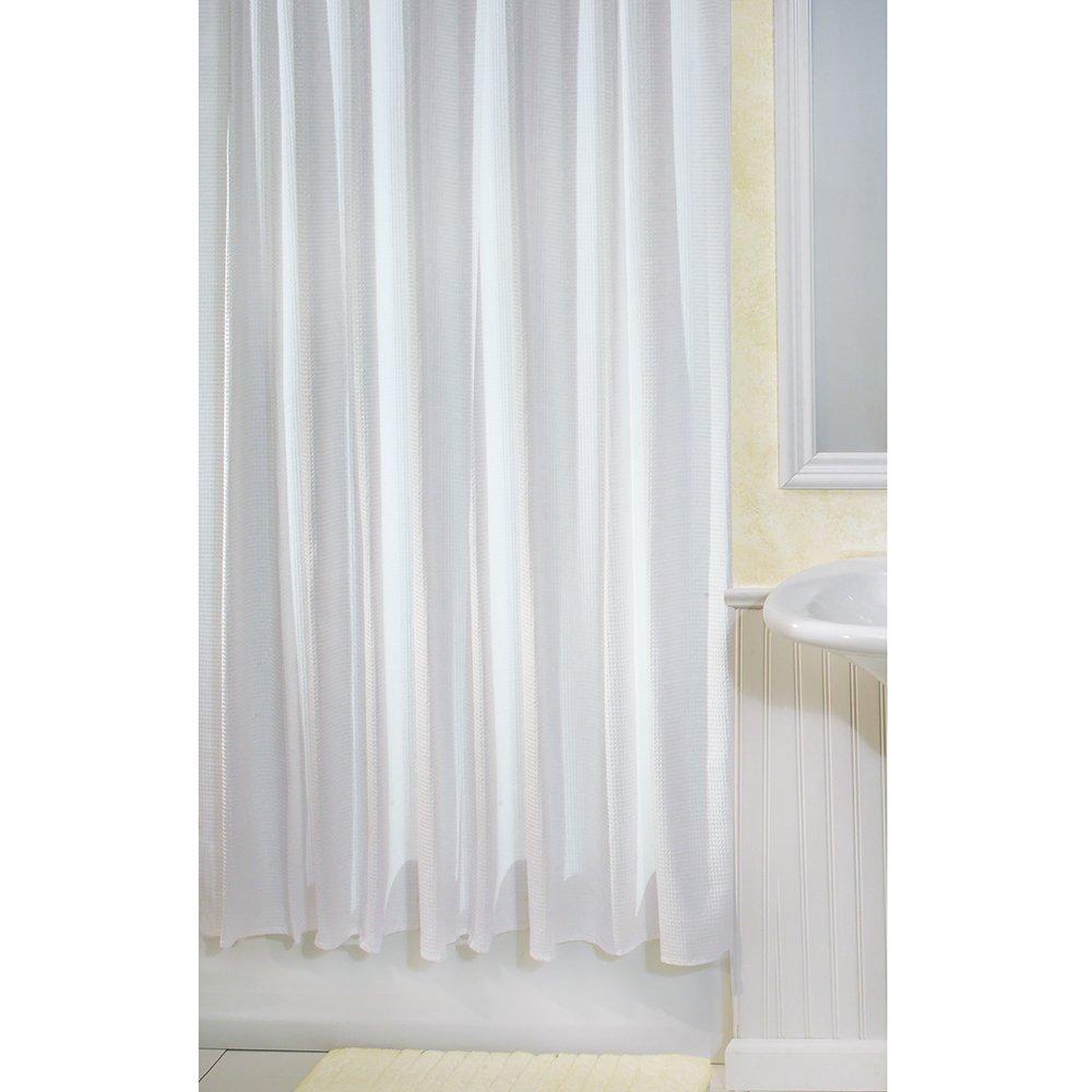 Interdesign Cotton Blend Fabric Shower Curtain 72 X 72 Inch White Waffle New Ebay