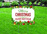 """Merry Christmas and Happy New Year - 16"""" x 12"""" Yard/Home Sign with Stake - Single Sided - FAST DELIVERY!"""
