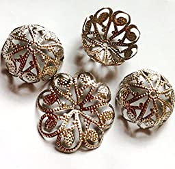 Thirty (30) Large Firm Filigree Platinum Silver plated Iron Bead Caps, Lead, Cadmium, Nickel Free, 20.5mm