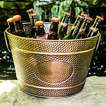BREKX Hillcrest Bronze Pebbled Galvanized Beverage Tub Wine Bucket & Planter, Medium