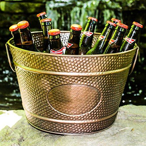 BREKX Hillcrest Bronze Pebbled Galvanized Beverage Tub Wine Bucket & Planter, Medium 1