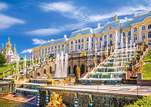 Puzzle 1000 Teile - Schloß Peterhof in Rußland - Sankt Petersburg - Palast Kaskade Weltkulturerbe - Landschaft Schlößer Burg Schloßkirche Schlosspark