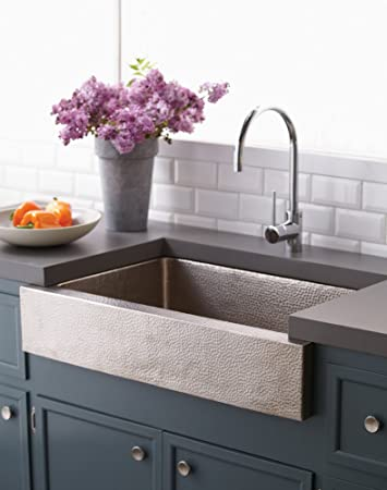"33"" x 22"" Zuma Copper Kitchen Sink Finish: Brushed Nickel"