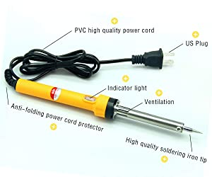 Soldering Iron, Soldering Iron Kit Electronics 60W 110V, Chrome Plated Steel Straight Tip Head Design with Power Indicator Light, Solder Wire 1.0mm Dia, Rosin, Cleaning Sponge, Holder