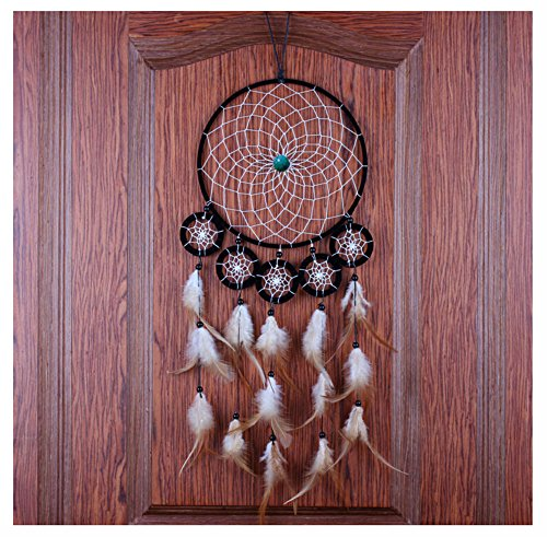 Topin® Dream Catcher Beaded Feathers 6 Circles Handmade Wall Hanging Ornament