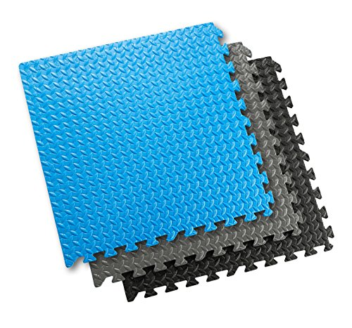 Sivan Health and Fitness® Puzzle Exercise Mat High Quality EVA Foam Interlocking Tiles (Black)