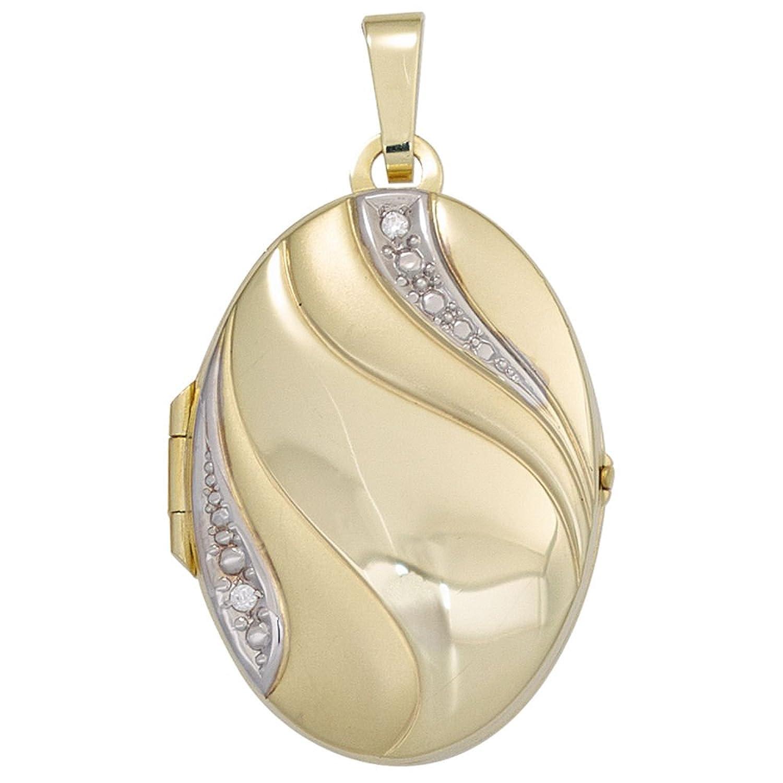 Dreambase Damen-Anhänger Medaillon teilmattiert 8 Karat (333) Gelbgold 2 Zirkonia als Weihnachtsgeschenk kaufen