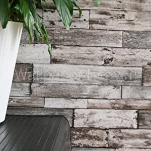 rustic planks wood effect wallpaper in brown grey and