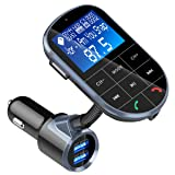 FM Transmitter, BENEO Bluetooth FM Transmitter Wireless Radio Audio Adapter Receiver Car Kit MP3 Player with On Off Button/Hands Free Calling/Dual USB Charger/U-disk/TF Card/A2DP Aux Input/Display (Color: BC37)