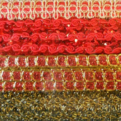 [Venus Ribbon CA-0013 Costume Trim Ribbon Assortment, Red/Gold Multi] (Fairy Princess Costume Diy)