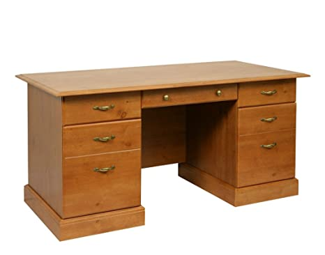 Tipton French Gardens Traditional Design Double Pedestal Study Desk With Antique Pine Effect by Carran Office Furniture