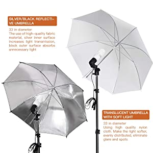 MOUNTDOG 33 Photography Umbrella Lighting Kit Professional Photo Video Portrait Studio Day Light Umbrella Continuous Lighting Kit for Photo Studio (Tamaño: umbrella kit)