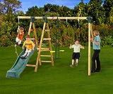 Plum Meerkat Wooden Garden Swing Set and Climbing Frame