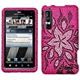 Tasteful Flowers With Full Rhinestones Hard Protector Case Cover For Motorola Droid 3 Solana XT862