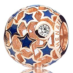 ATHENAIE 925 Sterling Silver Plated Rose Gold Starry Night Openwork Enamel Charms Fit All European Bracelets Necklace