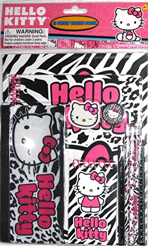 Hello Kitty Black & White Animal Print Stationary Set-11 pieces