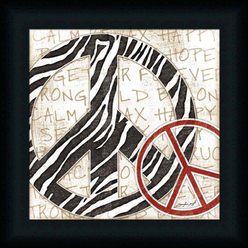 Peace Sign Zebra Contemporary Girls Room Décor 15X15 Framed Art Print Picture By Jennifer Pugh front-870451