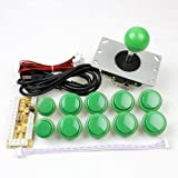 EG Starts Arcade Game DIY Parts kit for PC and Raspberry Pi 1/2/3 with RetroPie, 5Pin Joystick, 8x 30MM and 2x 24MM Buttons Mame Kits Part (Green)
