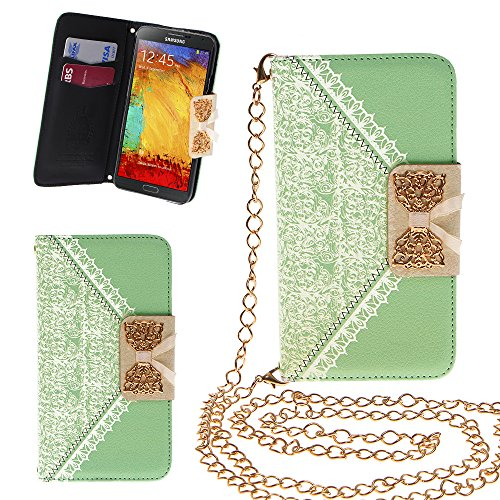 Xtra-Funky Exclusive Pu Leather Lace Pattern & Golden Bow Flip Case Cover Purse Handbag With Credit Card And Money Slots & Detachable Golden Chain For Samsung Galaxy Note 4 - Green